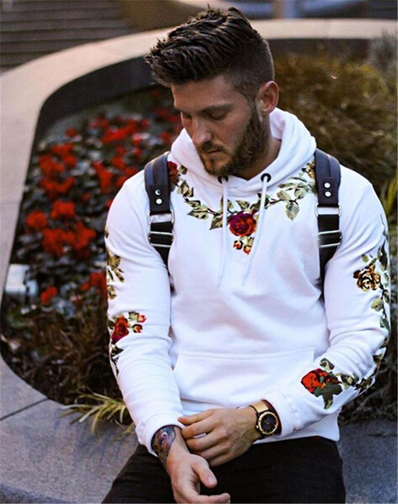 브랜드 뉴 남성 디자이너 후드 패션 꽃 자수 단색 풀오버 스웨터 남성 캐주얼 느슨한 후드