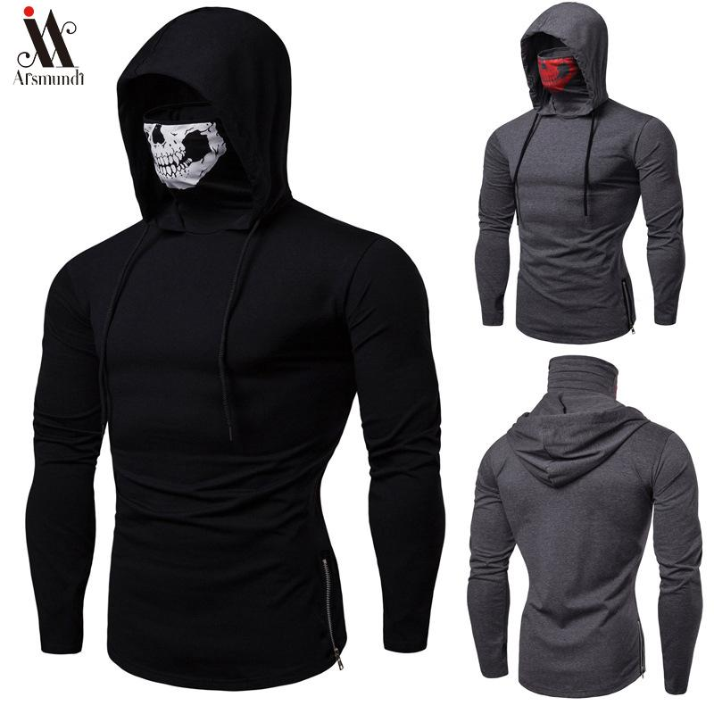 2019 manches longues Fitness Sweats Homme Automne Sweat-shirt mince Homme Sporting Slim Fit Streetwear rue Solid Sweat à capuche blanc T200102