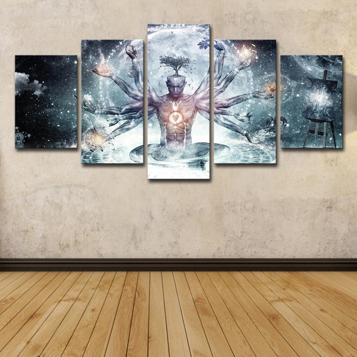 5pcs Bouddha Art Yoga Peinture Arbre Abstrait Méditation Mur Art HD Imprimer Toile Peinture De Mode Suspendre Photos