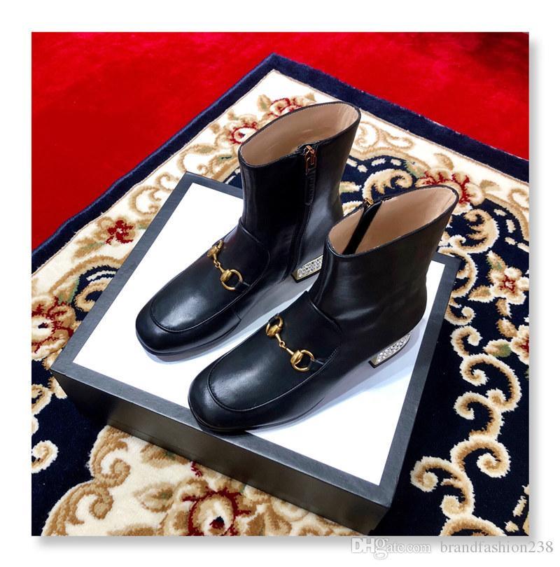 zapatos de las mujeres del diseñador del rhinestone zapatos de tacón alto de las mujeres se inclinan los zapatos del diseñador mujeres del diseñador de moda de lujo 2019 calza botas de invierno de cuero reales