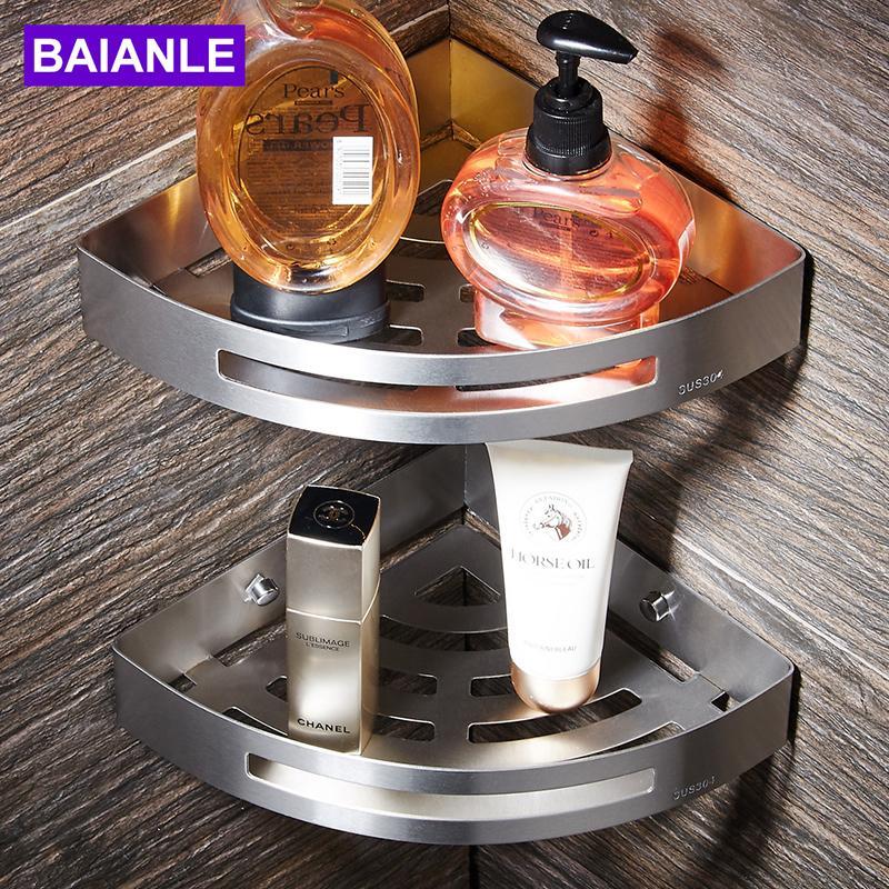 Baianle Banyo Rafları Fırçalı Nikel Paslanmaz Çelik Duvara Montaj Üçgen Duş Caddy Raf Banyo Aksesuarları T8190626
