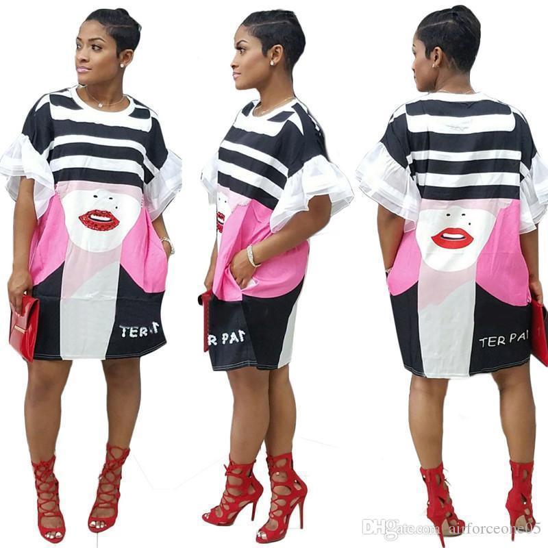 Imprimir partido ocasional de la manga mitad Ropa vestidos de cuello redondo ajustado de manera atractiva de las prendas de vestir para mujer de verano 3D