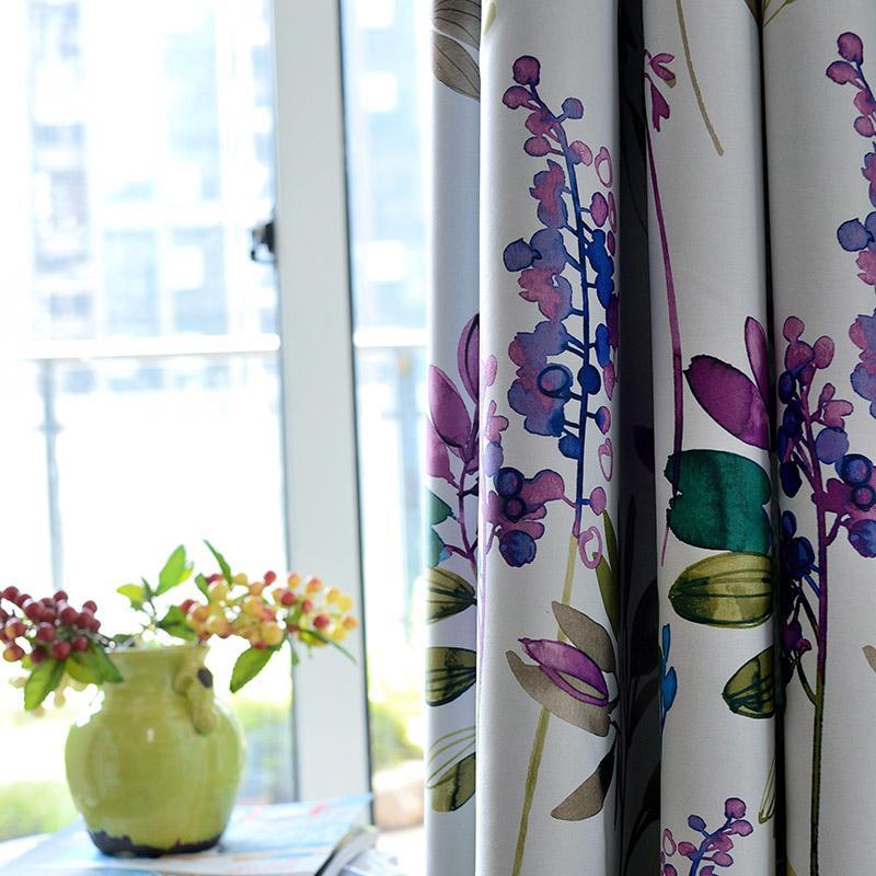 Trattamenti della finestra American Style floreale viola oscuranti tende per il salone da letto Cucina Cortinas stampato Pastorale