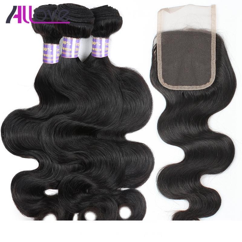 4bundles Allove mayorista 10A brasileña del cabello humano de la armadura de cuerpo con extensiones de cabello Cierre de Malasia Encaje Tejidos del Perú pelo humano indio