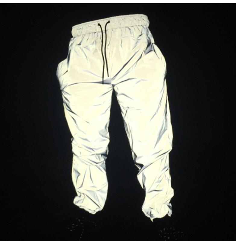 Reflective Hip Hop Men Joggers Sweatpants Men's Streetwear Night Light Shiny Blink Long Pants For Couples SH190816