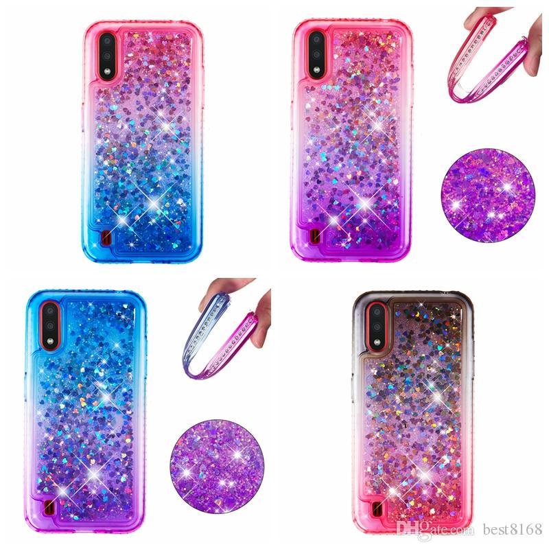 Diamant Quick weiche TPU Fall für Galaxie A01 A21 A81 A91 Anmerkung 10 Plus für Iphone 11 Pro Max XR XS 8 7 6 5 Gradient Luxus Flüssig-Abdeckung