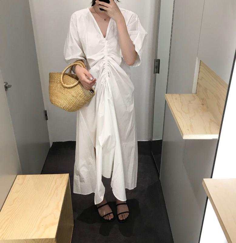 2020 весна и лето новые женщины длинное платье сплошной цвет хлопок повседневная женская одежда нерегулярная мода Женская одежда V704