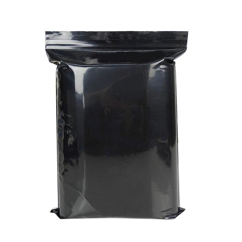 Large Black plastic bag, Thickened Packaging bag for food Zipper gift bags 100pcs/set