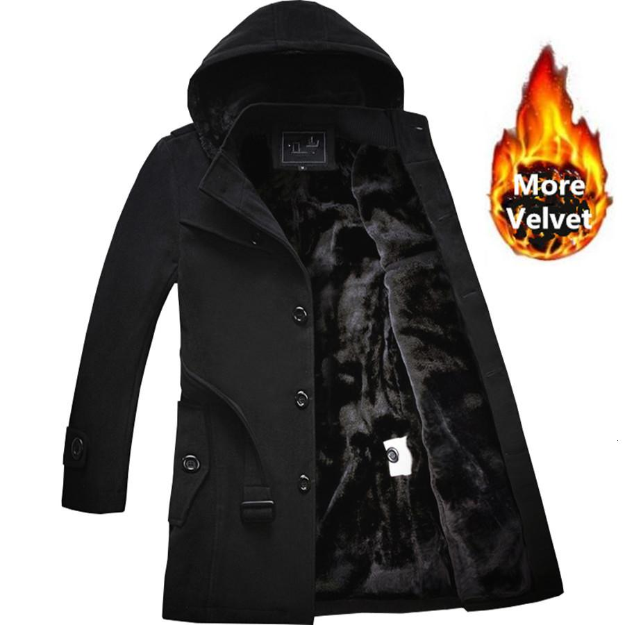 2019 Winter Trench Coat Men Fashion Long Overcoat men Hot Sale Woollen Coat Thick Men's Clothing Size 4XL Wool Jackets CJ191210