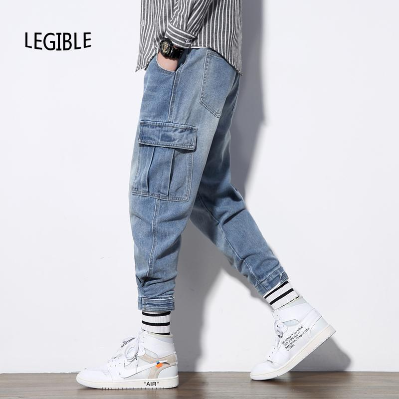 Lesbar 2020 Frühling Herbst Hip Hop Cargo Jeans Männer Feste Denim Hosen Männer Mode Lose Japanischen Jeans Hosen