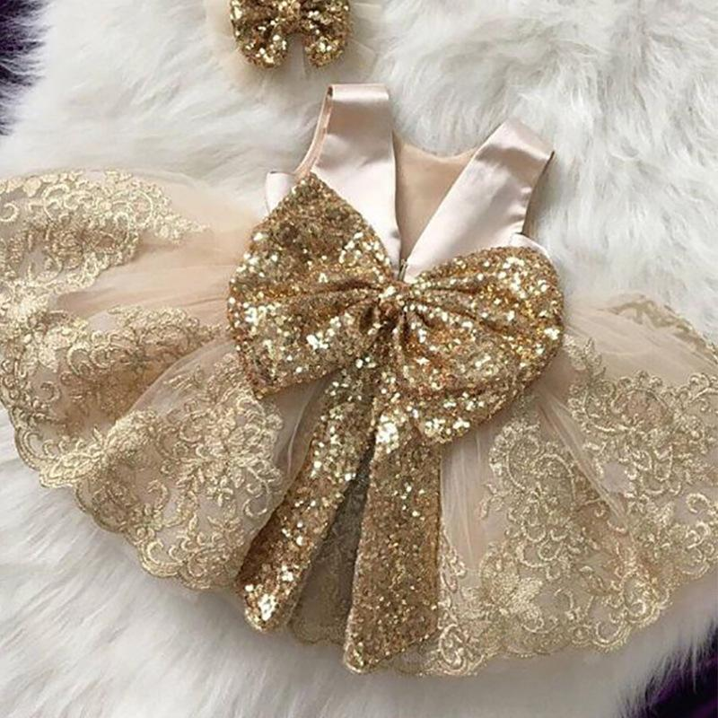 Retail baby girl dresses Champagne sequins bow backless wedding dress princess dress rose gold bridesmaid dresses kids designer clothes