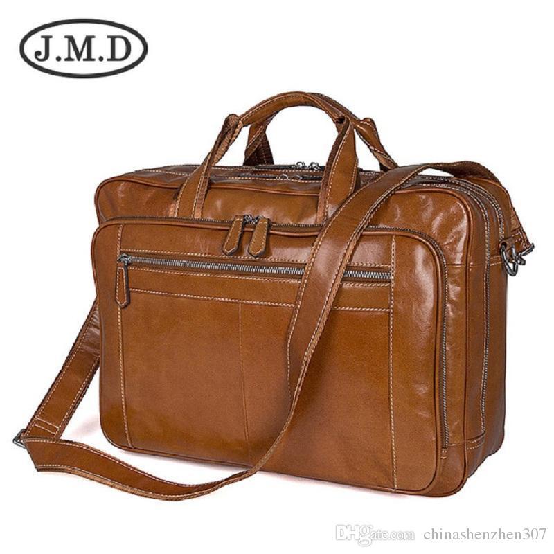 J.M.D Сумка Большой Messenger Мужская сумка на плечо Новый портфель 2019 Кожаная подлинная 7380 Emihh