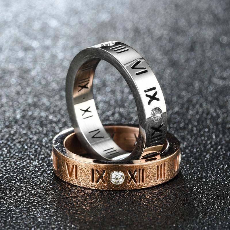 Crystal Roman Numerals Anéis Band Números Diamante Anel Noiva Noivado Para Homens Mulheres Moda Jóias Vontade e Sandy 080439