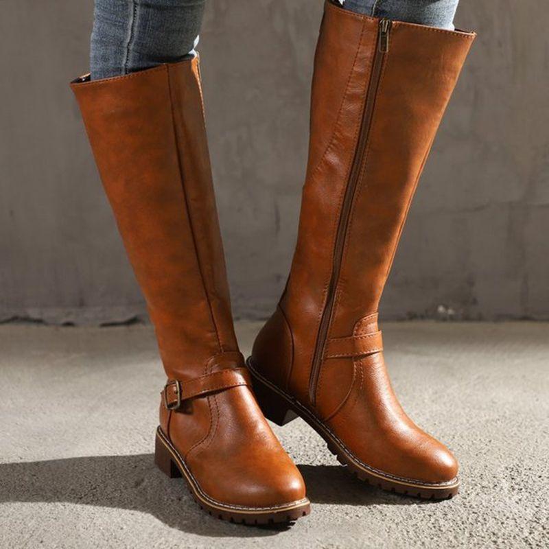 MoneRffi Kadınlar Uzun Çizme Binme PU Deri Kemer Toka Fermuar Boots Kış Düşük Topuk Yuvarlak Burun Uyluk Yüksek Botaş Mujer ayakkabı