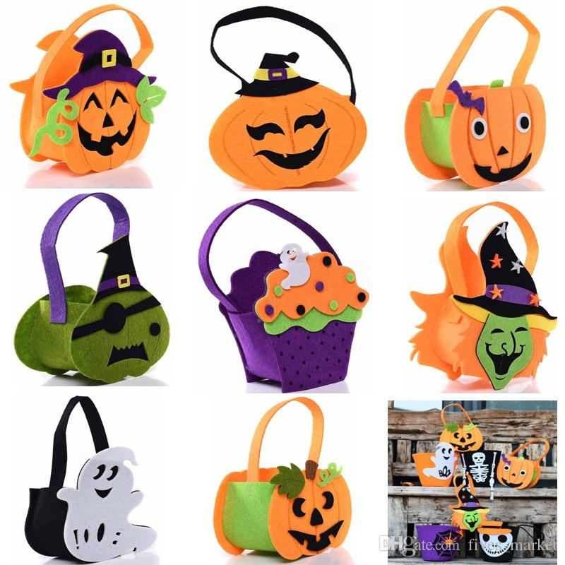 Halloween Pumpkin Candy Bag Cute Smile Basket Face Children Gift Handhold Pouch Tote Bag Non-woven Pail Props Decoration 8 styles HH7-1347