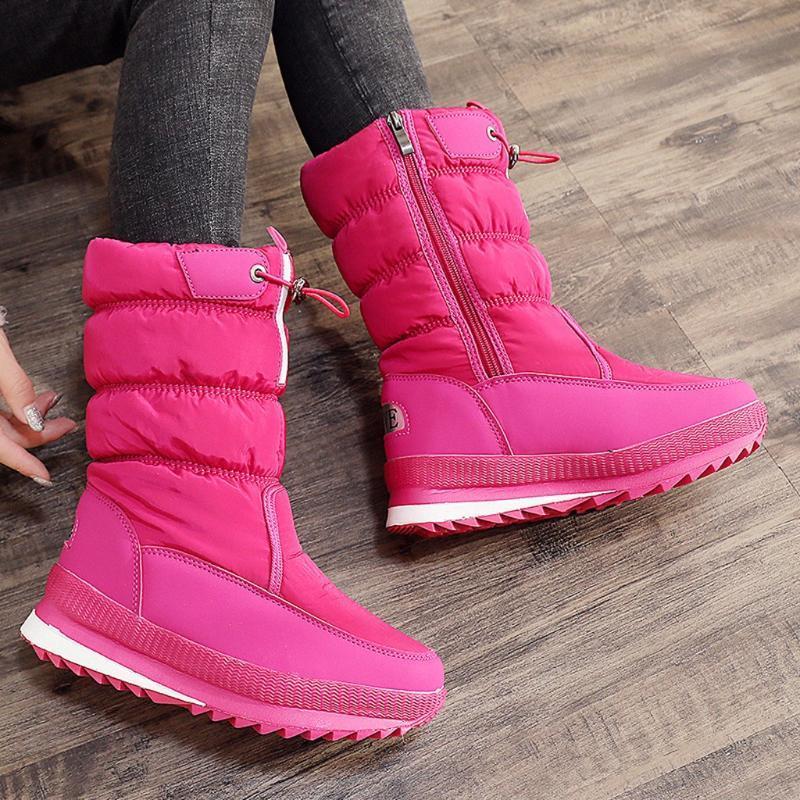 Chaussures dames neige Bottes chaudes Chaussures Femme solide crochet de rose Femmes Bottes hiver Haut Tube imperméable Casual bottillons Botas
