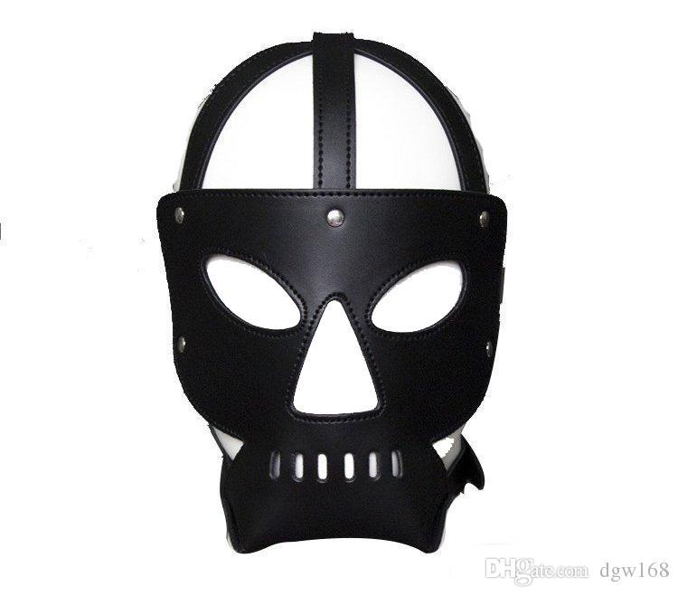Slave Bondage Hood Mask Black Hell Leder Gesicht Masken Sex Produkt Für Erwachsene Sexy Spiele Spielzeug