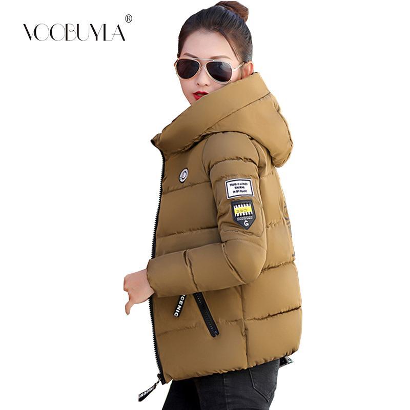 Voobuyla Femmes d'hiver court Parkas Taille Plus M-5XL Manteau Veste à capuche chaud épais vêtement Femme Slim Coton rembourré Basic Tops
