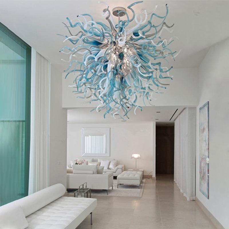 Lampade a mano in vetro soffiato a mano lampadari moderno illuminazione a soffitto appeso a LED 110-240V luci a sospensione multicolor 32 pollici lampadario per camera da letto Art Deco