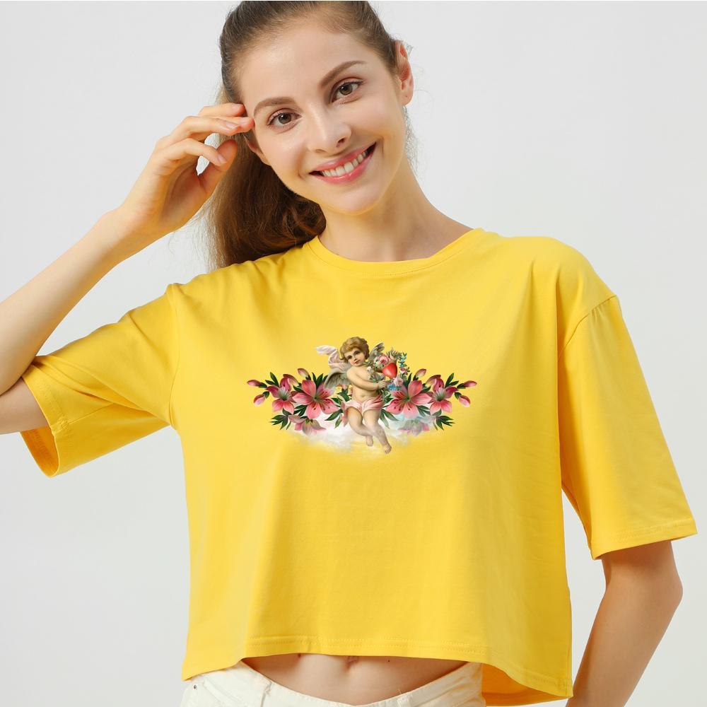 Ángel impresión de la manga corta de las mujeres camiseta estética de la cosecha de la mujer Camiseta casual Tops verano camiseta Moda Femenina Camiseta Streetwear