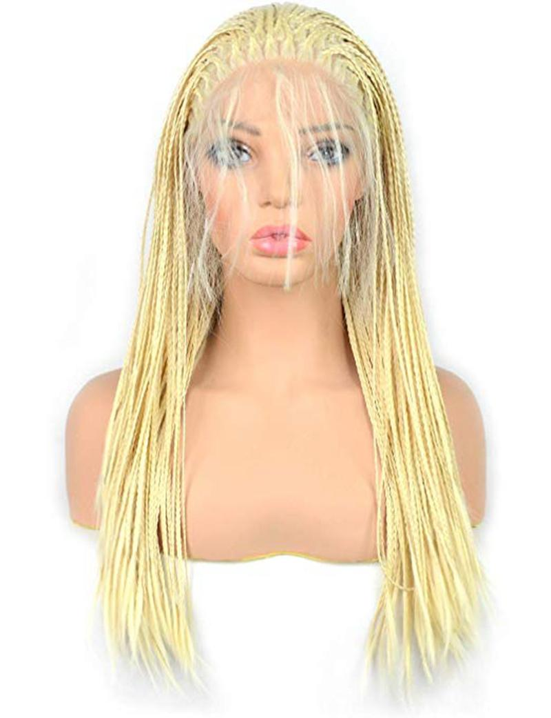 Blonde Micro Braided Lace Front Wig Half Hand Tied Synthethic Hair Heat Resistant Hair Braided Wigs Free Part with Baby Hair for Women