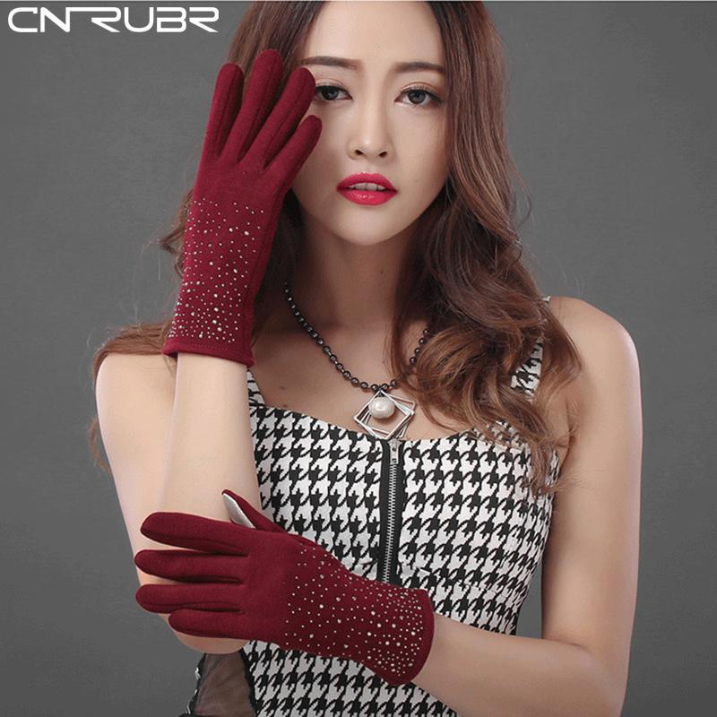 Cnrubr Winter Women Screen Feel Gloves Warm Diametre Flocking Caskmere Grave Smart Phone Tablet Wrist Full Finger Female Gloves