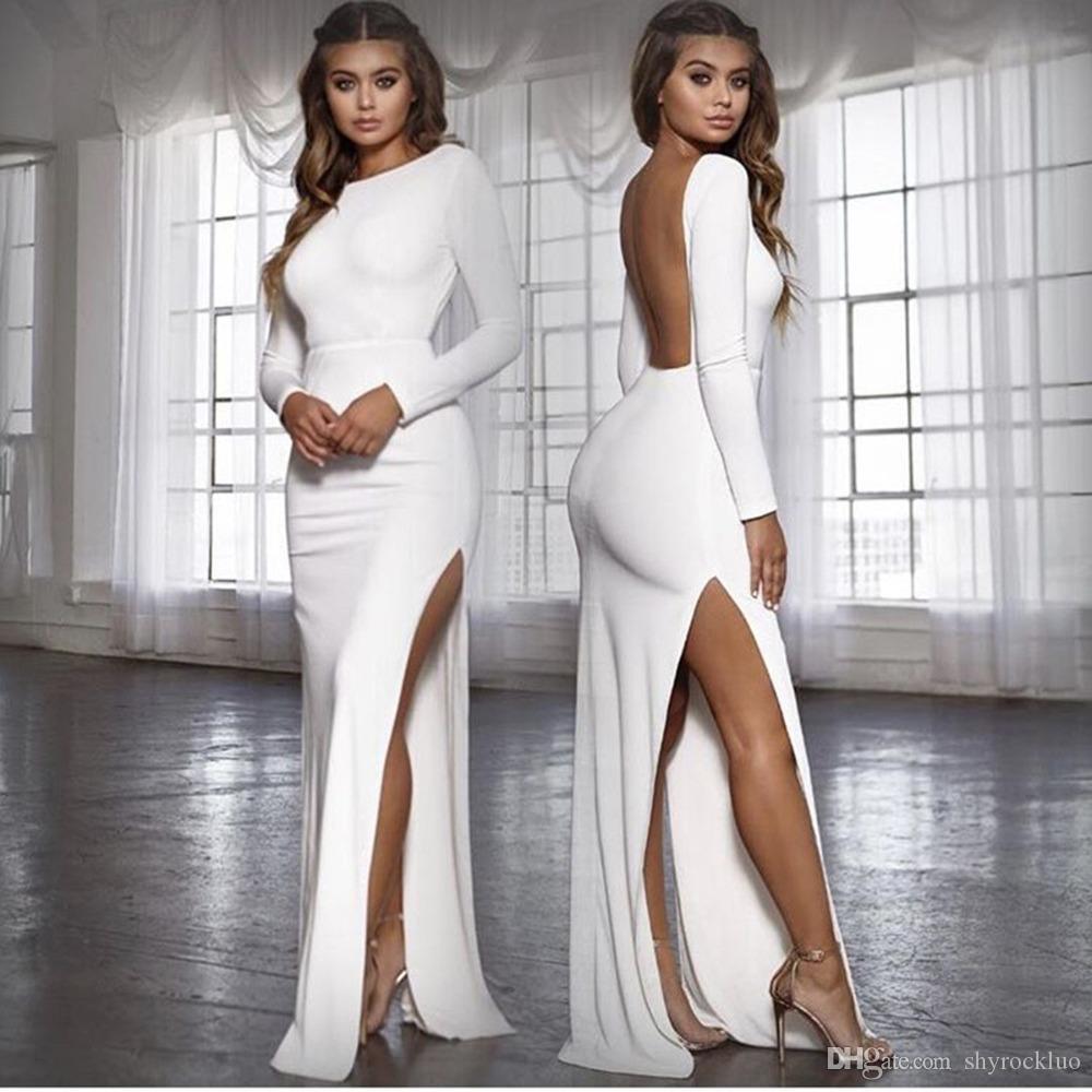 여자 유럽 미국의 섹시한 고삐 등이없는 슬릿 롱 슬리브 바닥 길이 우아한 저녁 파티 드레스 여름 가을 등이없는 섹시한 드레스