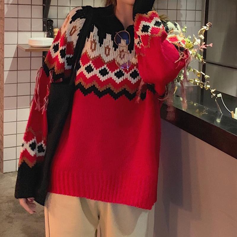 Örme Triko Bayan Triko Noel Kırmızı O-Yaka Uzun Kollu Pamuk Kazak Kadınlar Günlük Kış Isınma Moda Kazak
