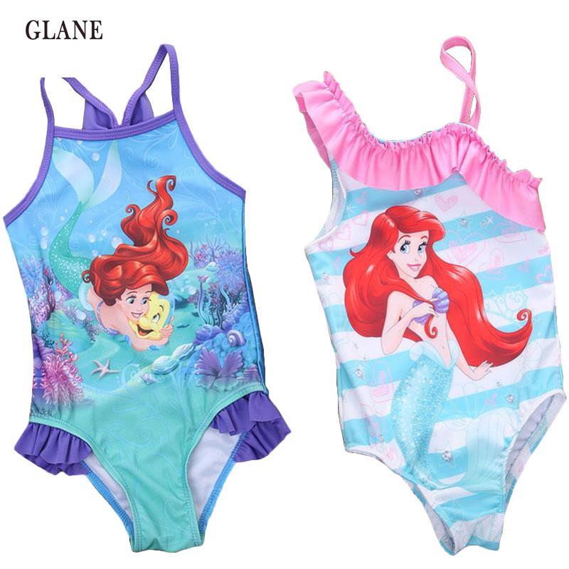 2-7T Mermaid kız Çocuk Mayo Karikatür Mayo Baskı Çocuklar Mayo Bikini Tankini Kız Bebek Yaz Yüzme Kostüm