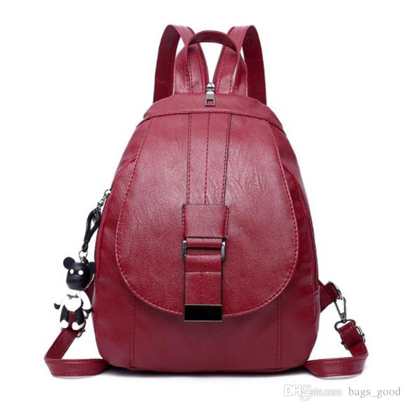 WOMENS NEW FAUX LEATHER MULTI ZIP SIMPLE SCHOOL TRAVEL BACKPACK RUCKSACK
