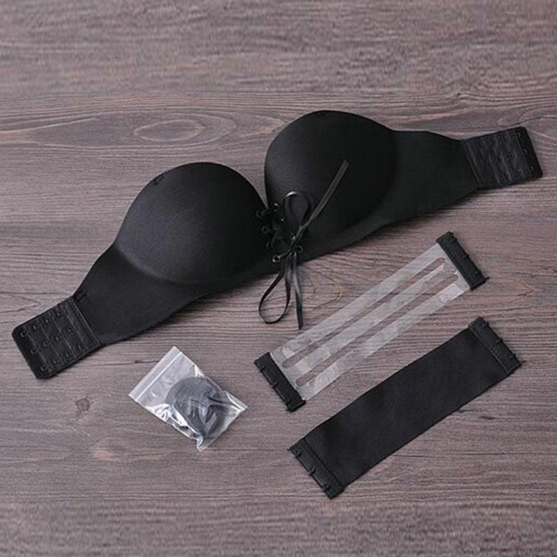 Seamless Bra Mulheres Underwear Mulheres Sexy Push Up Beha Invisible gancho Strapless Silicone quatro e Lace Bralette Mulheres Underwear 1 2 Cup