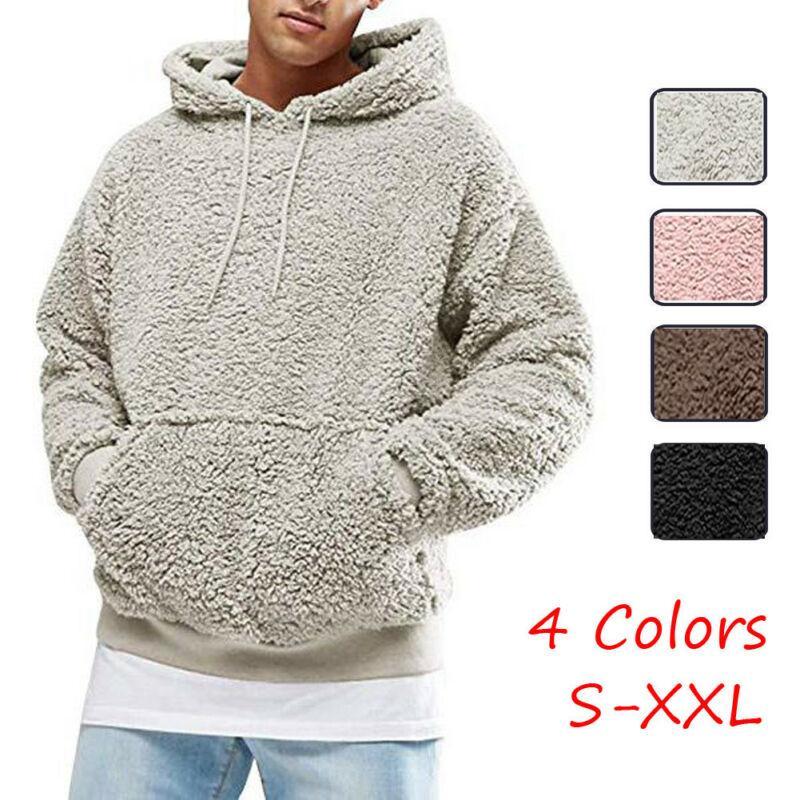새로운 패션 남성 겨울 따뜻한 테디 베어 단색 포켓 운동복 후드는 풀오버 폴라 플리스 후드 탑