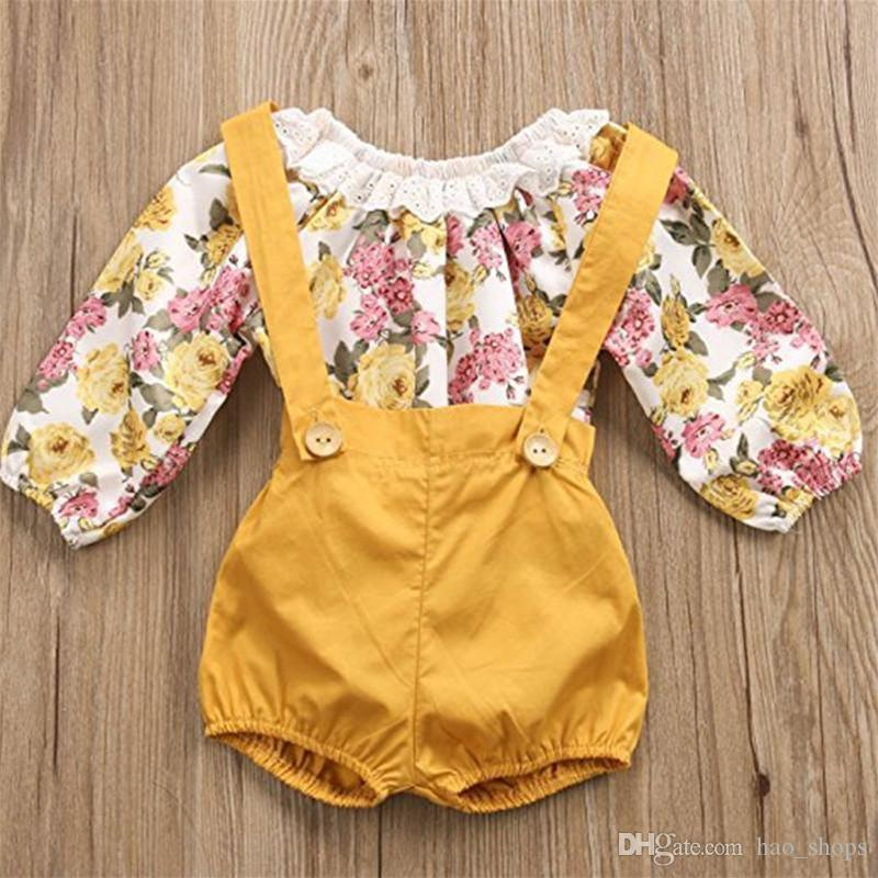Girls Boutique Outfits Baby Romper Shorts Set Primavera Summer Toddler Pizzo Pizzo Floral Sunsies Vestiti per bambini Vestiti per bambini Vestito Abbigliamento