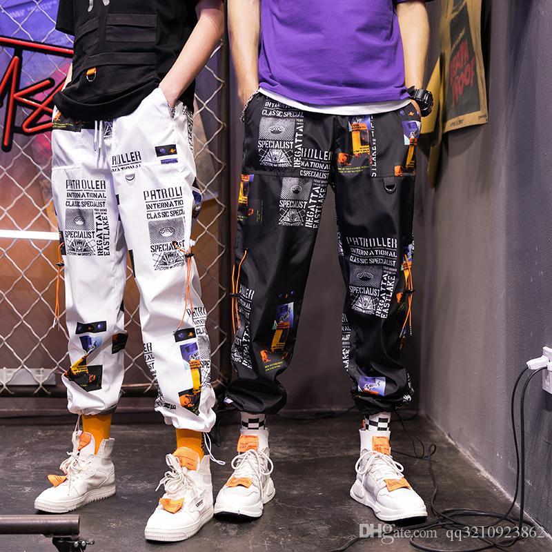 Men/'s 100/% Cotton Biker Jogger Pants Sport Casual Elastic Dance Harem Trousers