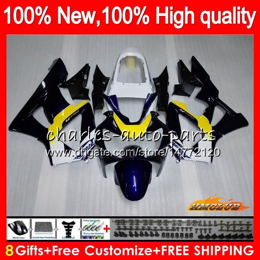 Bodys para HONDA CBR azul amarillo nueva 929RR 900 929 RR CC 900cc 929CC 900RR CBR929RR 76HC.16 CBR900RR CBR929 RR CBR900 2000 2001 00 01 carenado
