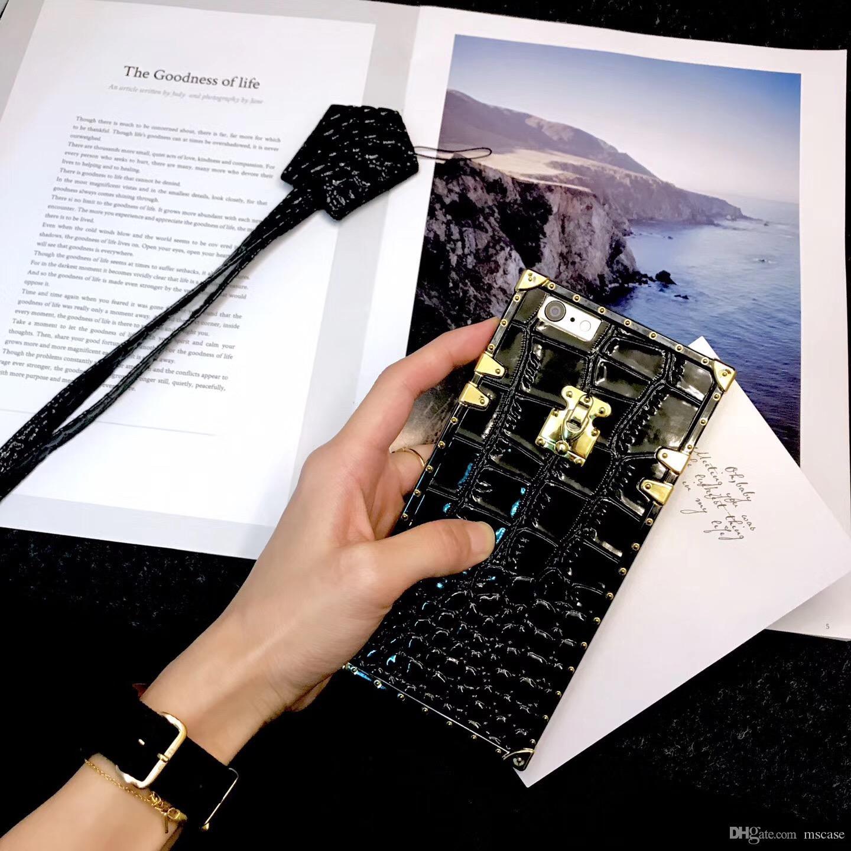 Krokodilkorn luxus leder case für iphone 6 7 8 plus xs max xr platz beschichtung abdeckung soft case tasche mit lanyard strap