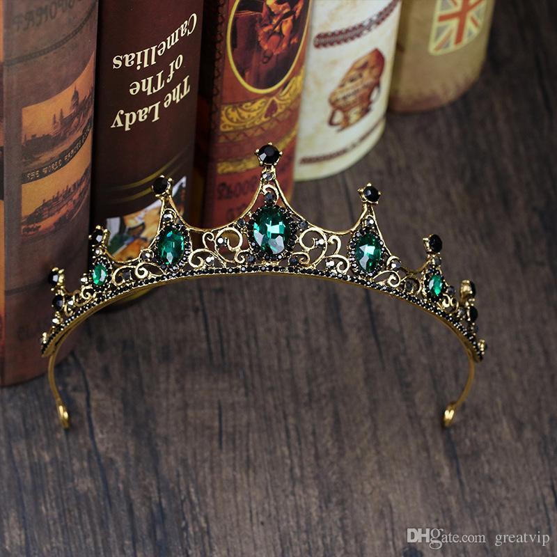 Secrète Parti Vert Diadème Cristaux Dégradés Autrichien Roi Reine Couronne De Mariée Couronnes De Mariée Costume Art Déco Princesse Tiare Chapeaux