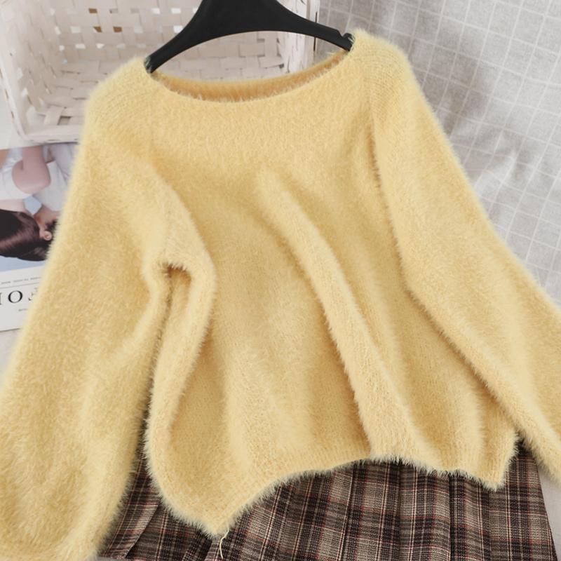 Womens Casual Long Sleeve Mohair Wool Sweater Jumper Long Tops Knitwear Dress