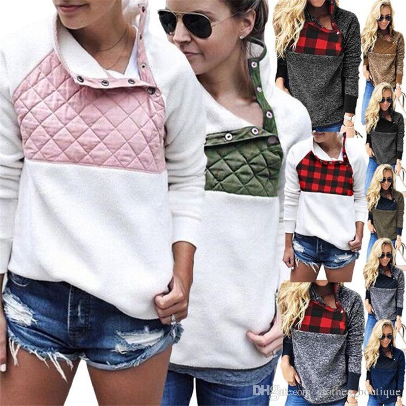 Womens Warm Long Sleeves Oblique Button Neck Splice Geometric Pattern Fleece Pullover Coat Sweatshirts Outwear