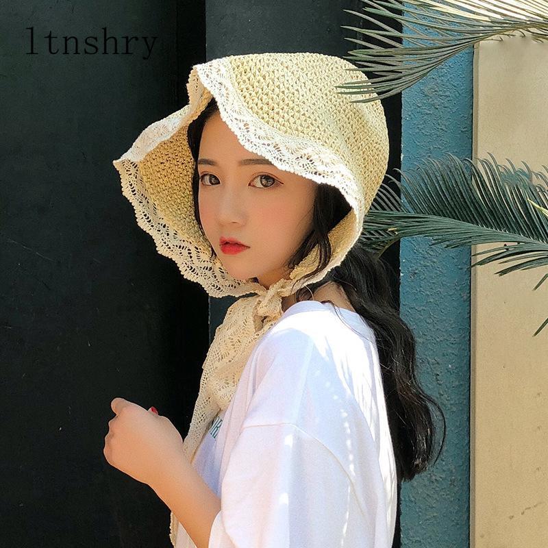 летний французский стиль кружева ленты шляпа лук праздник пляж соломенная бумага леди из двери отдыха перемещения крышки женщины ведро шляпы Складная