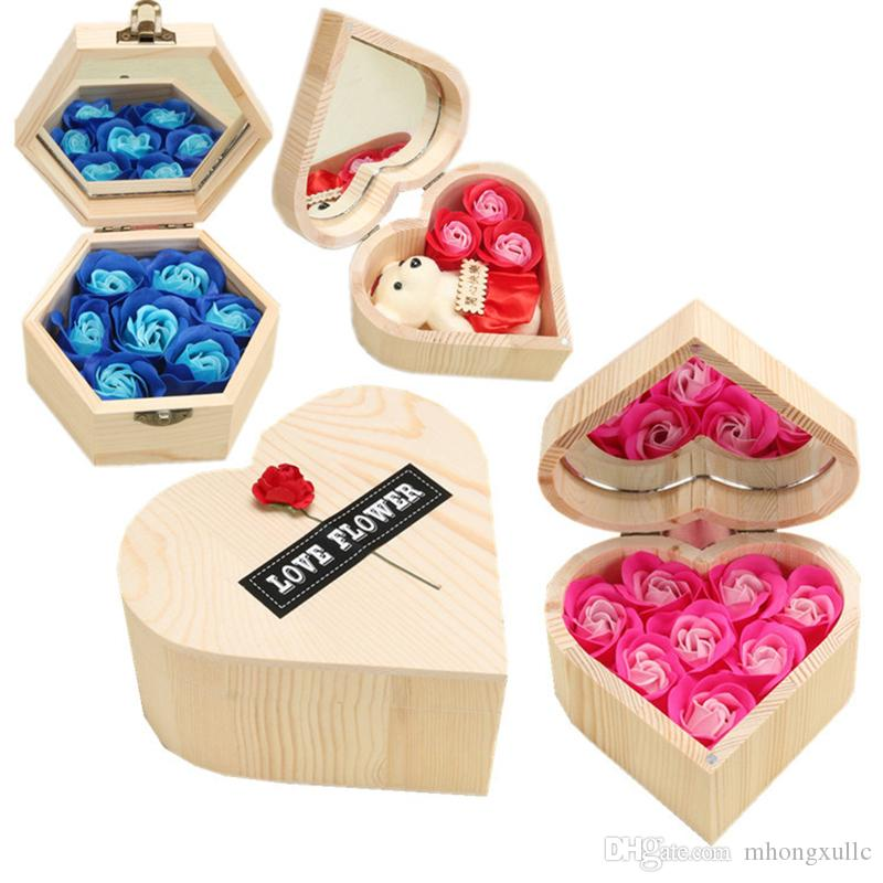 heart and hexagon shaped hexagon rose gift box soap rose Valentine's Day gift box creative handmade soap rose gift box