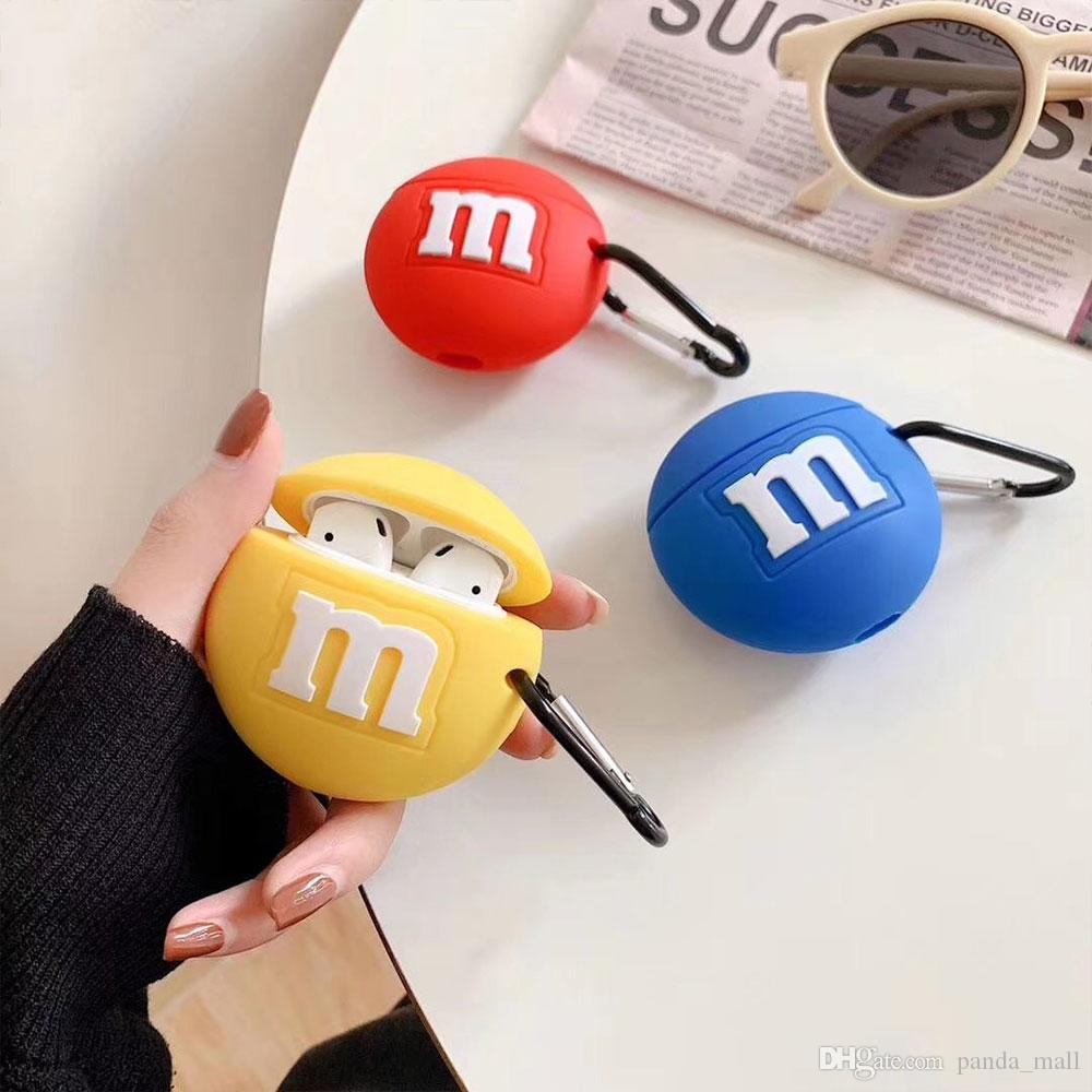 2020 For Airpods 2 Case Silicone Cute 3d Chocolate Beans Earphone