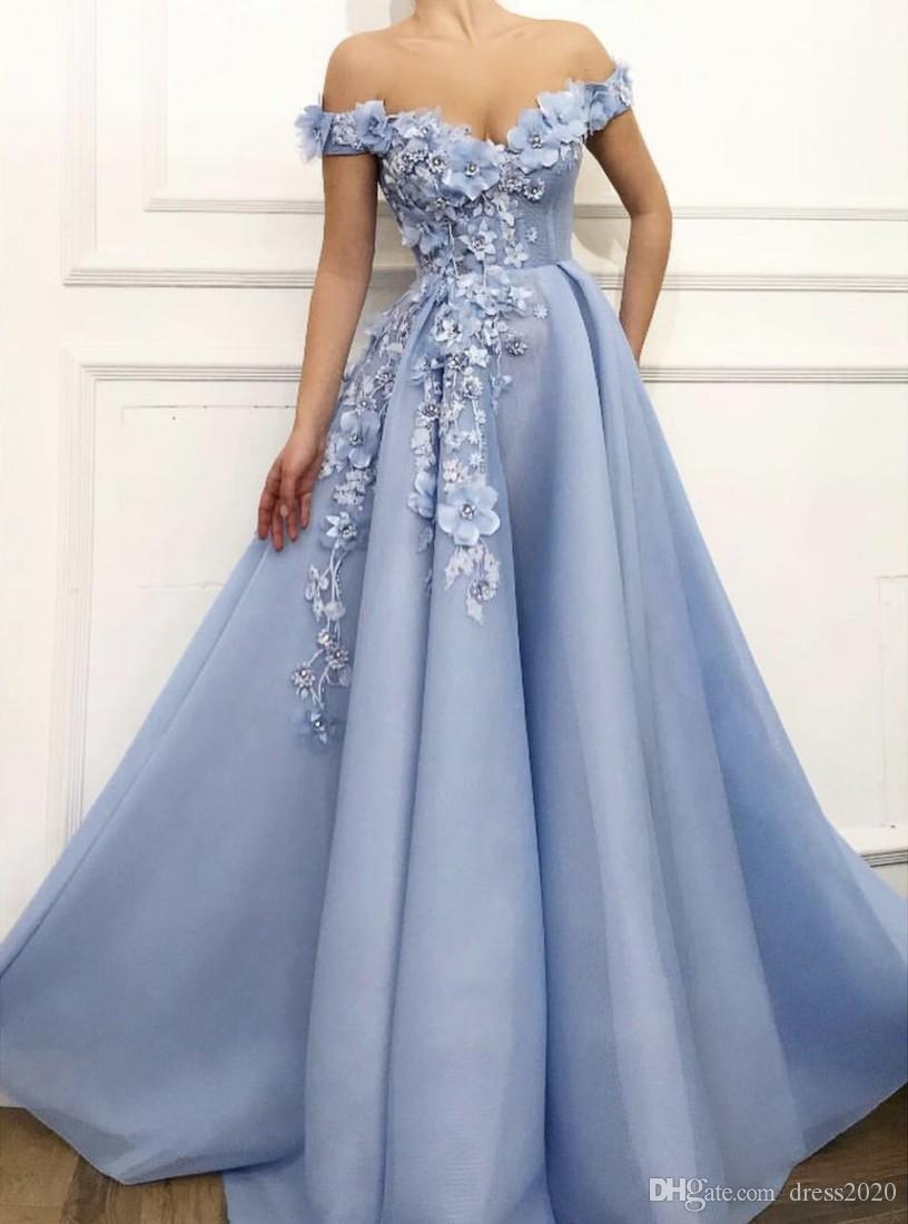 Azuis Charme Vestidos 2020 A-Line Off The Shoulder Flores apliques Dubai Arábia Árabe longo desfile vestido de noite Prom Dress
