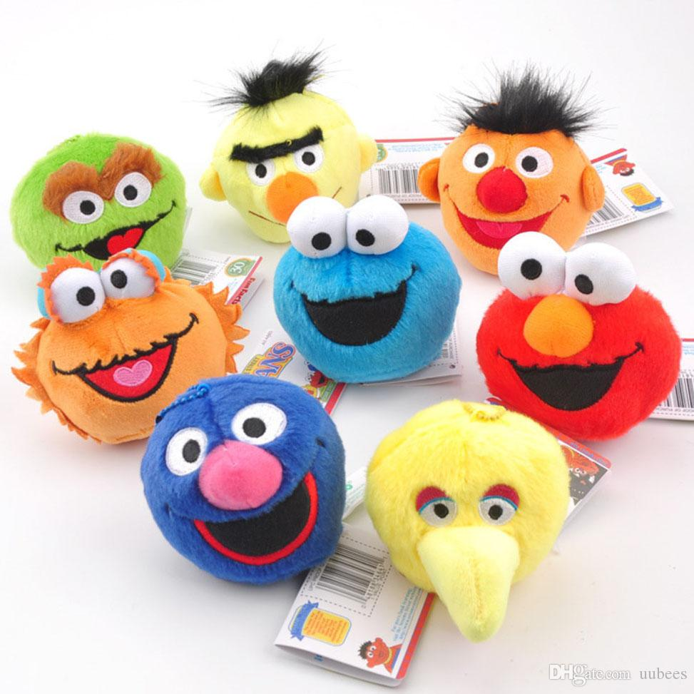 EMS 8Pcs/Lot Sesame Street Cookie Elmo Zoe Bert Bird Emie Grover Oscar 9CM Plush Doll Stuffed Pendant Best Gift Soft Toy