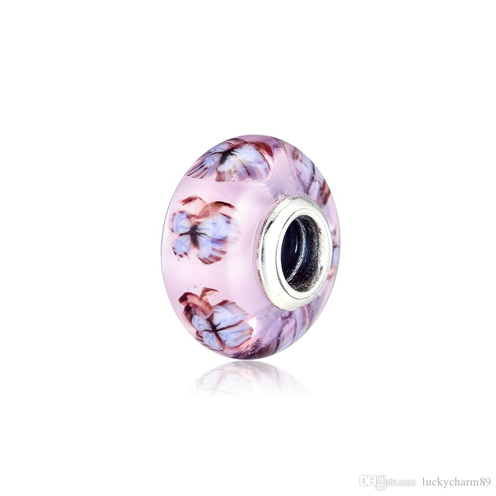 Pandora bayanlar için yeni 925 gümüş boncuk kelebek camı Murano çekicilik kolye bilezik DIY takı bilezik