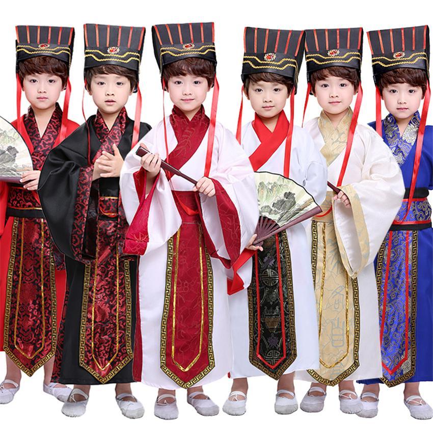 7Color Kinder Chinesisches altes Kostüm Traditionelle Dynastie offizielle Bühnenproduktionen Partei Kleidung Volkstanz Hanfu Kostüme Set