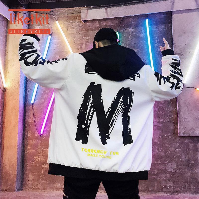 Liketkit Erkek Japon Streetwear Kapşonlu Ceketler 2019 Sonbahar Erkek Hip Hop Harf Casual WINDBREAKER Harajuku Ceketler Coats yazdır