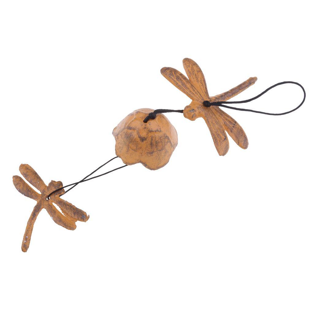 Творческий японского Чугун Уиндчайм сад Ветер Chime DragonflyBell Желтый