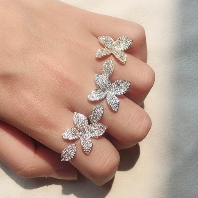 UILZ Fashion Big Leaf Rings con CZ Pave Setting Flower Design Aperto gioielli regolabili per gli accessori del partito UR2034