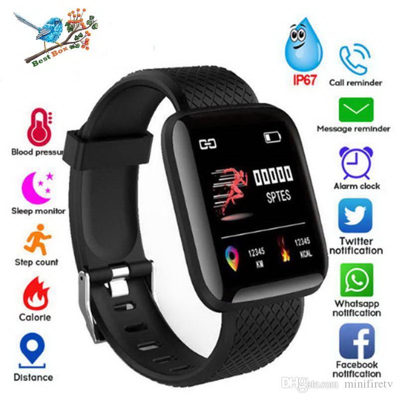 116 Plus montre intelligente Bracelets Fitness Tracker Fréquence cardiaque Étape Compteur Activité Moniteur Bande Bracelet pour iphone Android